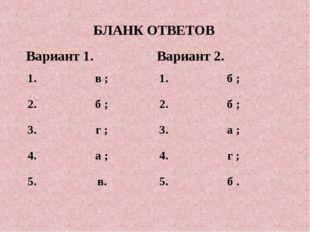 БЛАНК ОТВЕТОВ Вариант 1.Вариант 2. 1. в ;1. б ; 2. б ;2. б ; 3. г ;
