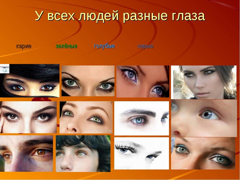 У всех людей разные глаза карие зелёные голубые серые