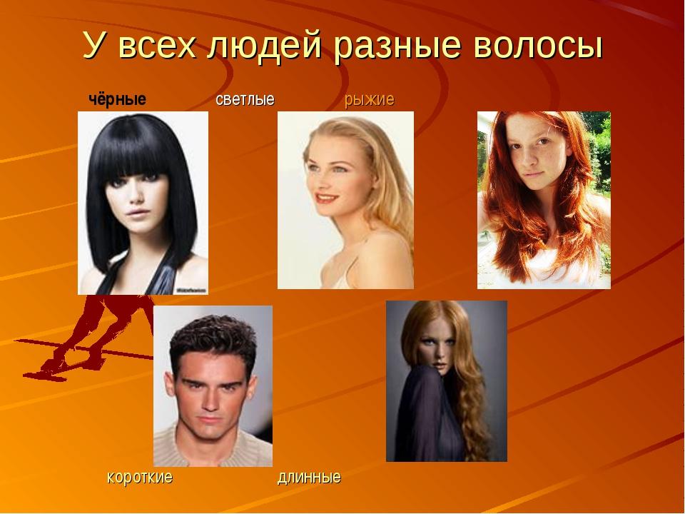 У всех людей разные волосы чёрные светлые рыжие короткие длинные