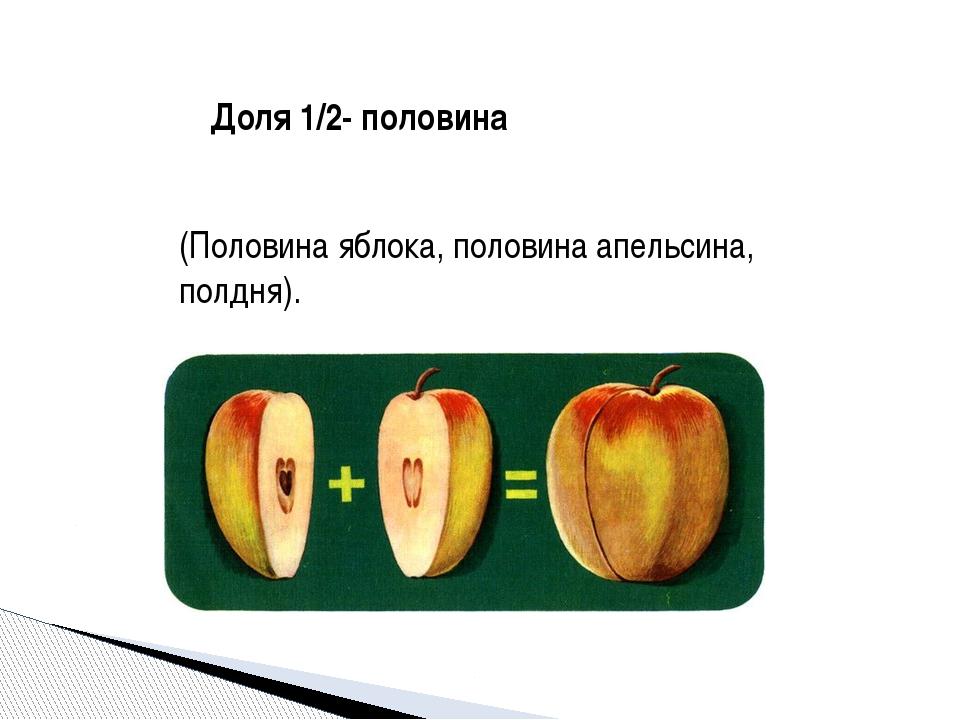 Доля 1/2- половина (Половина яблока, половина апельсина, полдня). Учитель:А к...