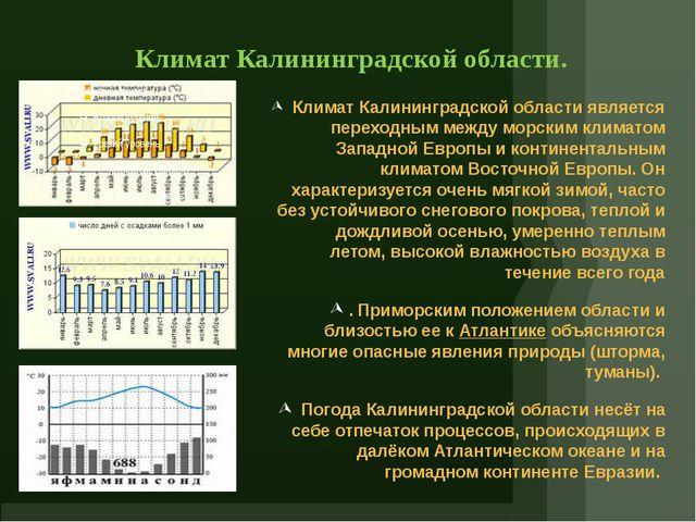 Климат Калининградской области. Климат Калининградской области является перех...