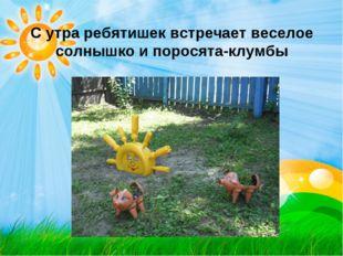 С утра ребятишек встречает веселое солнышко и поросята-клумбы