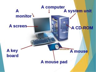 А computer A monitor A system unit A screen A CD-ROM A key board A mouse A mo