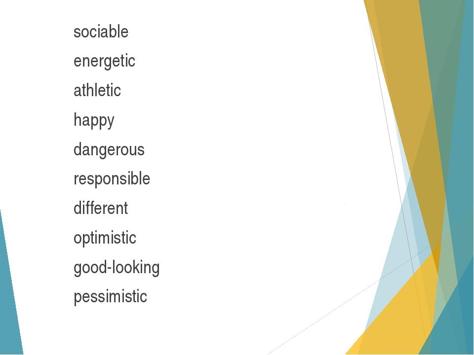 sociable energetic athletic happy dangerous responsible different optimistic...