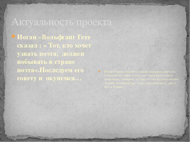 Актуальность проекта Иоган –Вольфганг Гете сказал : « Тот, кто хочет узнать п...