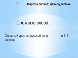 Снежные слова. Открытый урок по русской речи в 5- 6 классах Мороз и солнце;