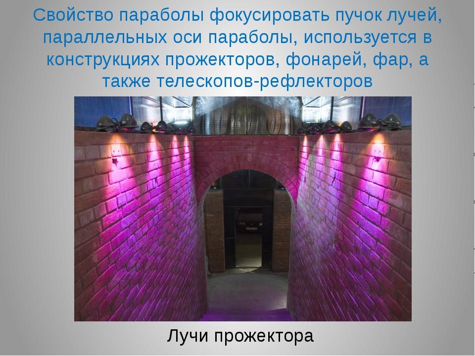 Лучи прожектора Свойство параболы фокусировать пучок лучей, параллельных оси...