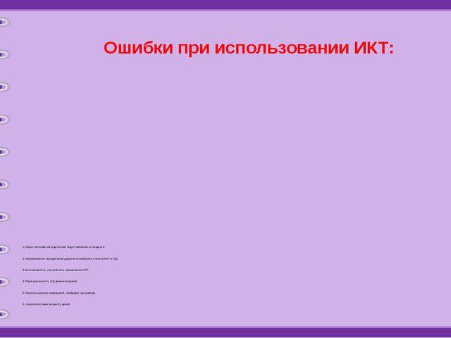 Ошибки при использовании ИКТ: 1.Недостаточная методическая подготовленность п...