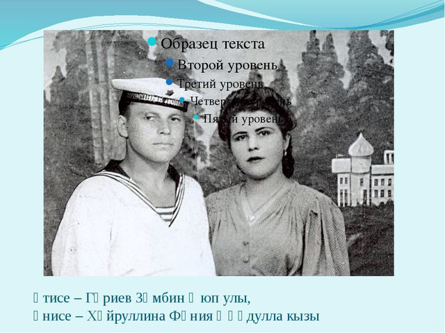әтисе – Гәриев Зәмбин Әюп улы, әнисе – Хәйруллина Фәния Әһәдулла кызы