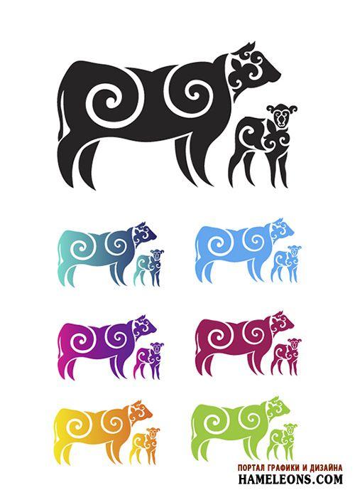 Корова с теленком из казахского орнамента в векторе