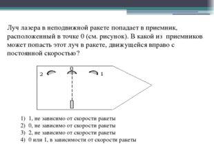 Луч лазера в неподвижной ракете попадает в приемник, расположенный в точке 0