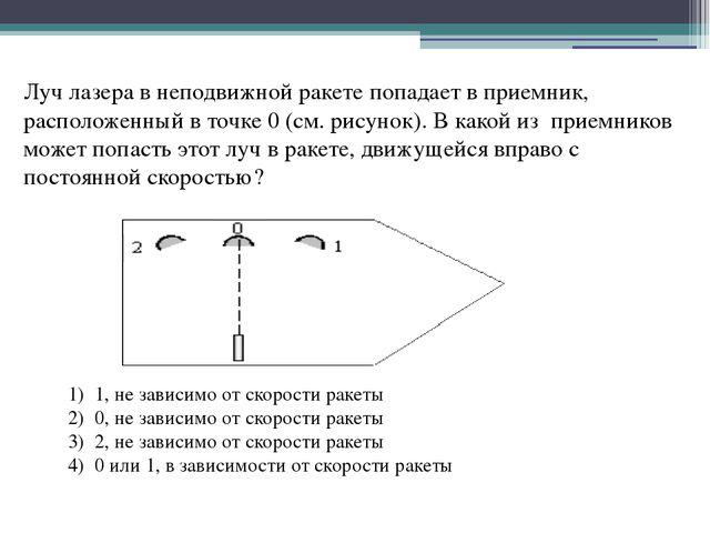 Луч лазера в неподвижной ракете попадает в приемник, расположенный в точке 0...