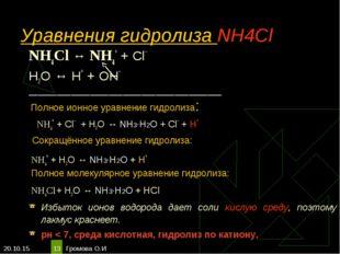 * Громова О.И * Уравнения гидролиза NH4Cl NH4Cl ↔ NH4+ + Сl– Н2O ↔ Н+ + ОН– _