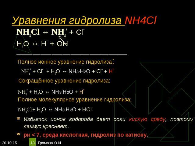 * Громова О.И * Уравнения гидролиза NH4Cl NH4Cl ↔ NH4+ + Сl– Н2O ↔ Н+ + ОН– _...