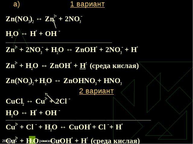 * Громова О.И * Zn(NO3)2 ↔ Zn2+ + 2NO3– Н2O ↔ Н+ + ОН – _____________________...