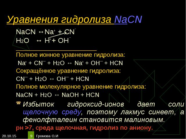 * Громова О.И * Уравнения гидролиза NaCN NaCN ↔Na+ + CN‾ Н2О ↔ H+ + OH ‾ ____...
