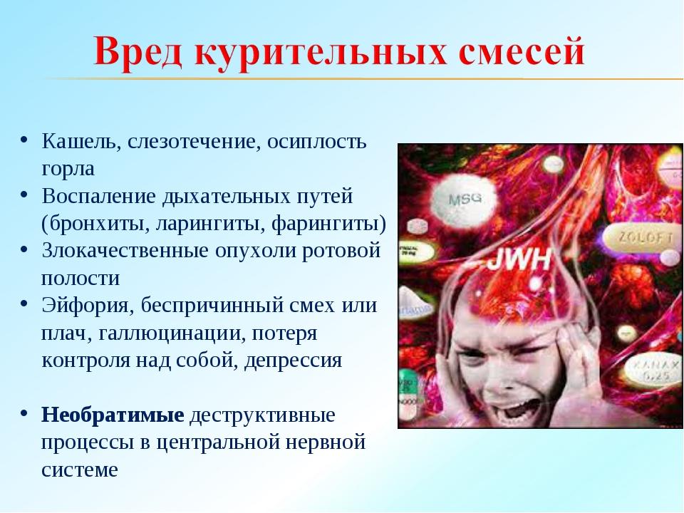Кашель, слезотечение, осиплость горла Воспаление дыхательных путей (бронхиты,...