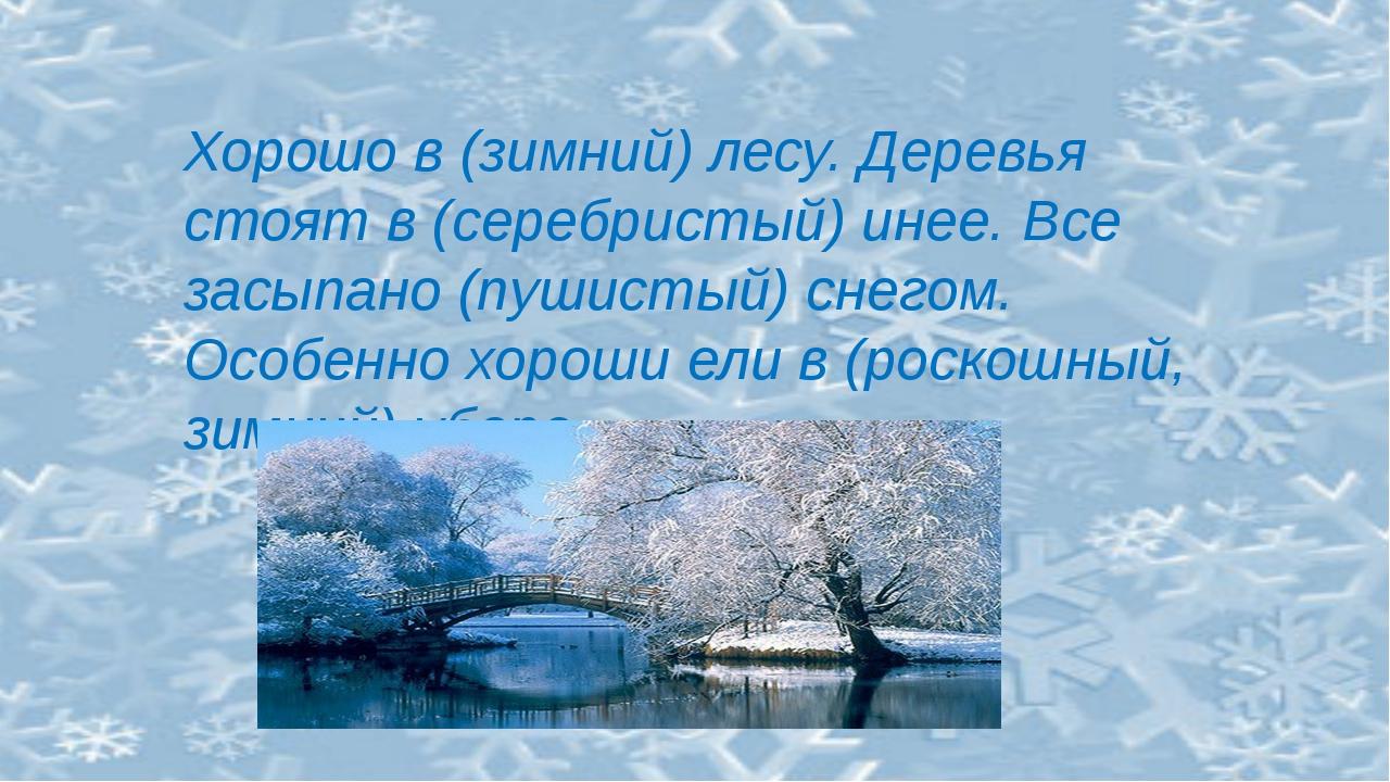 Хорошо в (зимний) лесу. Деревья стоят в (серебристый) инее. Все засыпано (пу...