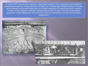 В том же 1939 году на месте провала, территория которого была огорожена, нача