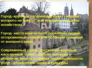 Город- крупный населенный пункт , жители которого не заняты , как правило ,се