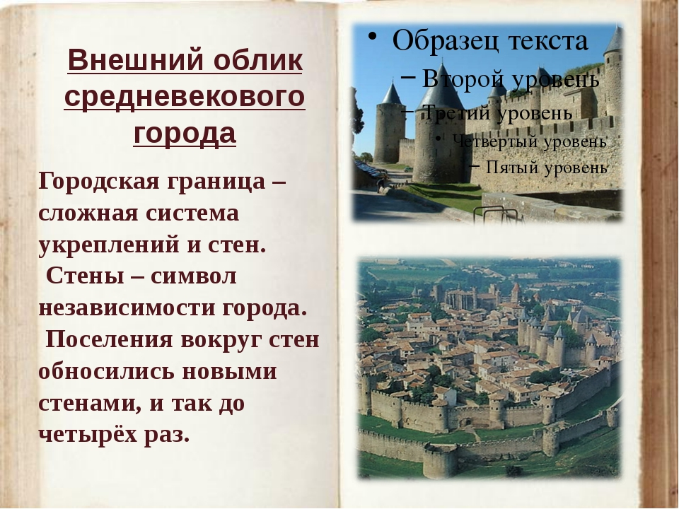 Внешний облик средневекового города Городская граница – сложная система укреп...