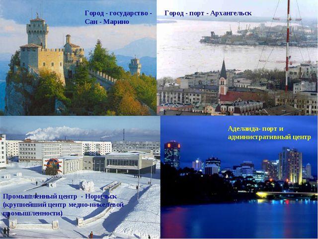 Город - государство - Сан - Марино Город - порт - Архангельск Промышленный це...