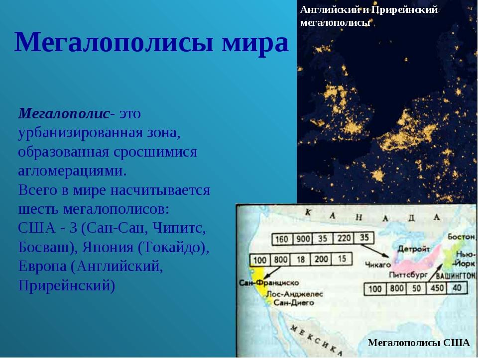 Мегалополисы мира Мегалополис- это урбанизированная зона, образованная сросши...