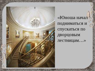 «Юноша начал подниматься и спускаться по дворцовым лестницам…»