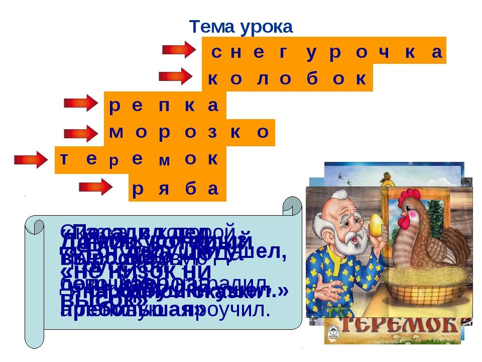 Тема урока Внучка Деда Мороза с н е г у р о ч к а «Я от дедушки ушел, я от ба...
