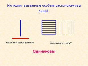 Иллюзии, вызванные особым расположением линий Какой из отрезков длиннее Какой