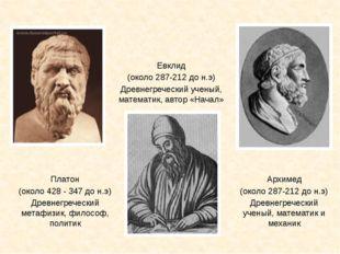 Архимед (около 287-212 до н.э) Древнегреческий ученый, математик и механик Пл