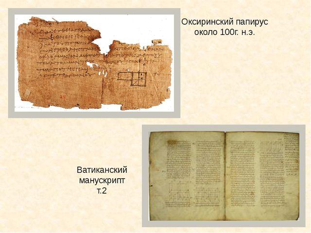 Оксиринский папирус около 100г. н.э. Ватиканский манускрипт т.2