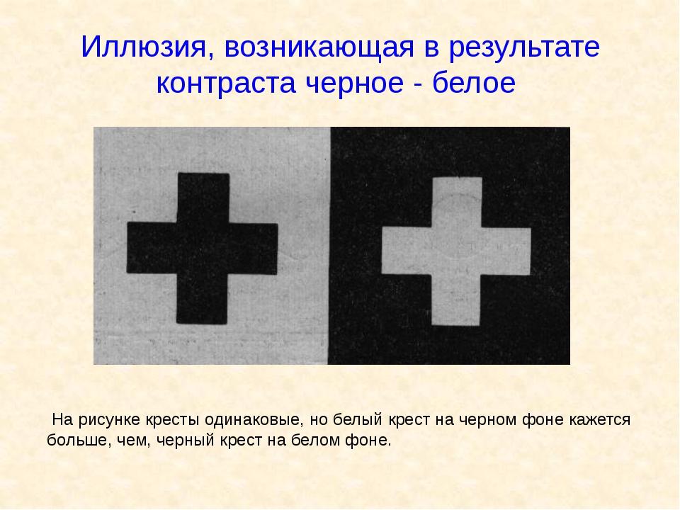 Иллюзия, возникающая в результате контраста черное - белое На рисунке кресты...
