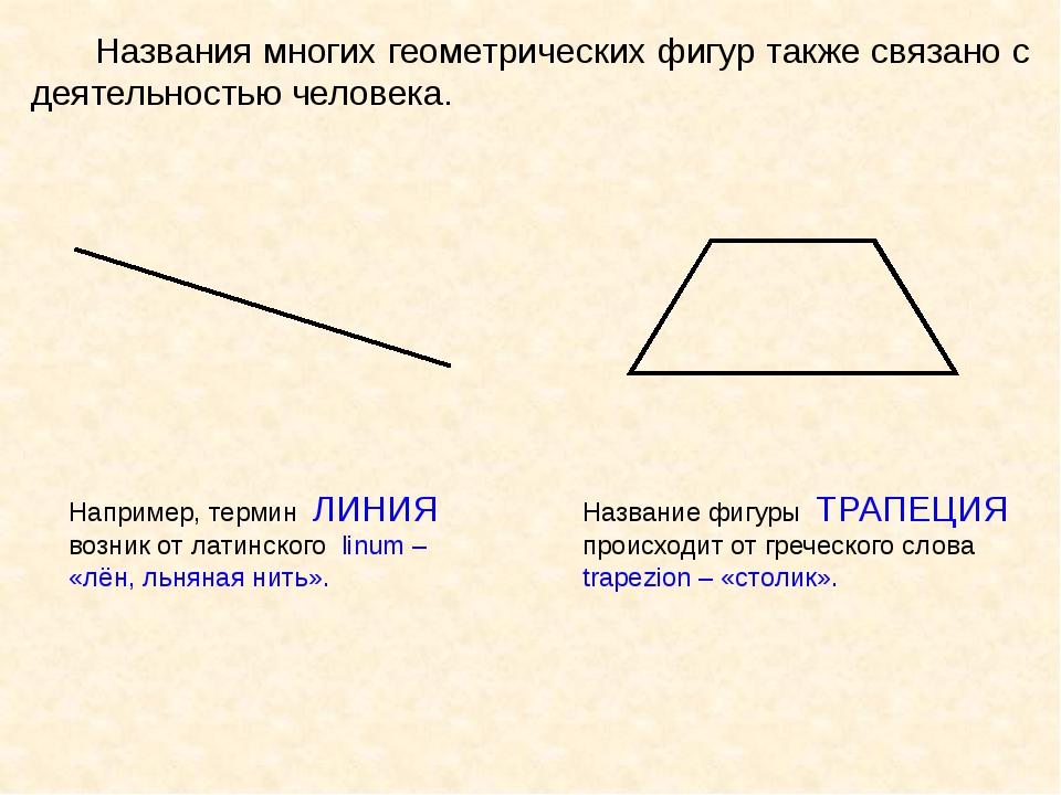 Названия многих геометрических фигур также связано с деятельностью человека....