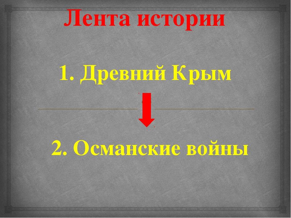 Лента истории 1. Древний Крым 2. Османские войны 