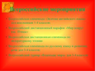 Всероссийские мероприятия Всероссийская олимпиада «Знатоки английского языка»