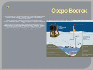 Озеро Восток В 1996 году совместно сбританскими коллегами российские ученые