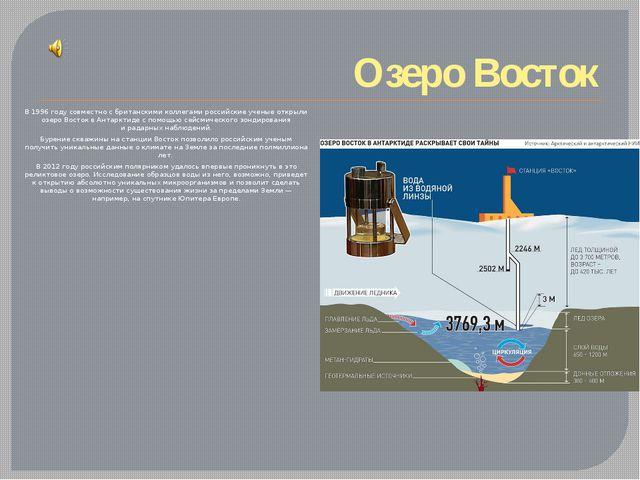 Озеро Восток В 1996 году совместно сбританскими коллегами российские ученые...
