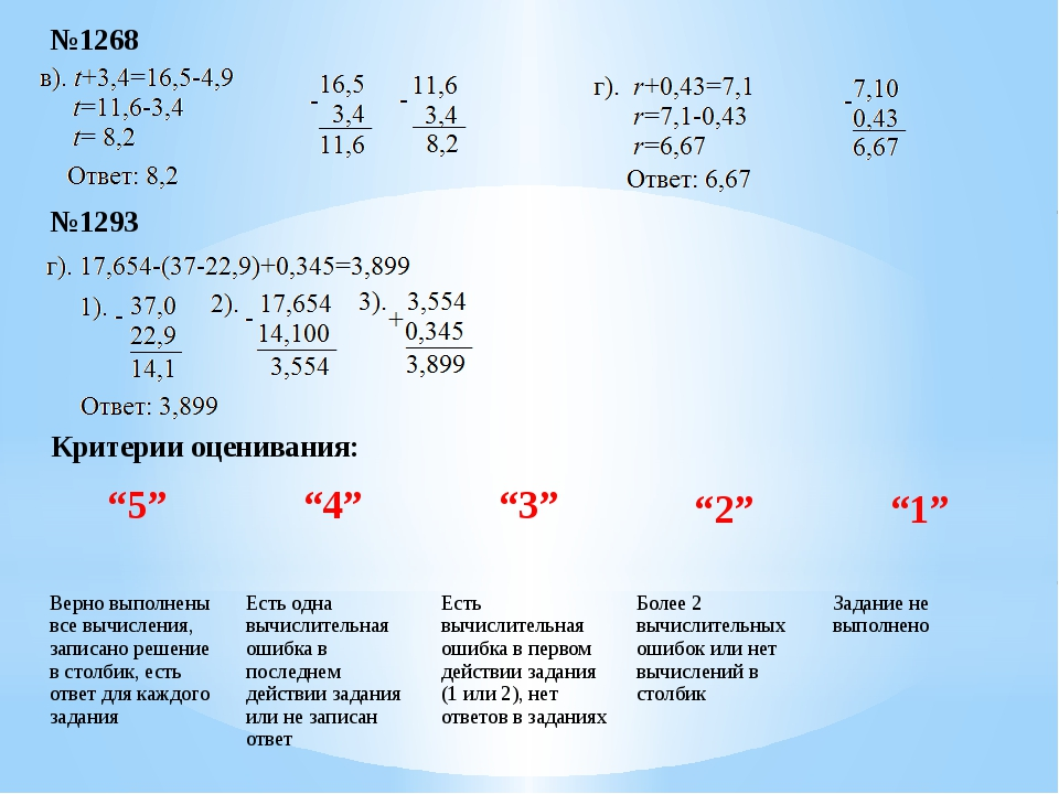 """№1268 №1293 Критерии оценивания: """"5"""" """"4"""" """"3"""" """"2"""" """"1"""" Верно выполнены все вычи..."""