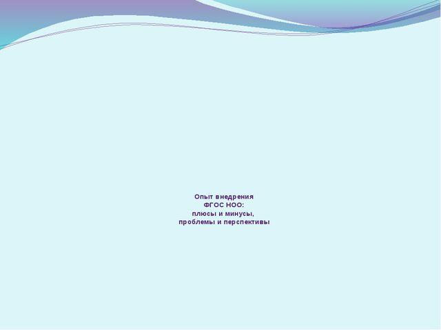 Опыт внедрения ФГОС НОО: плюсы и минусы, проблемы и перспективы