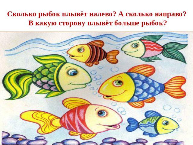 Сколько рыбок плывёт налево? А сколько направо? В какую сторону плывёт больше...