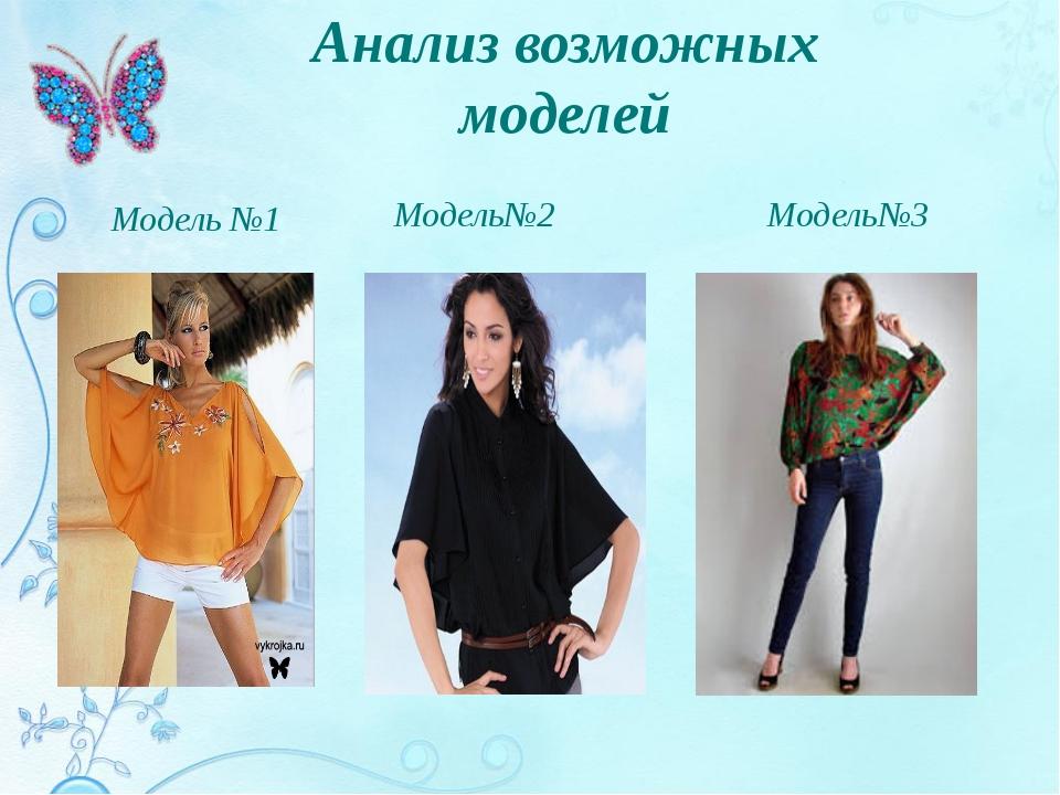 Анализ возможных моделей Модель№2 Модель№3 Модель №1