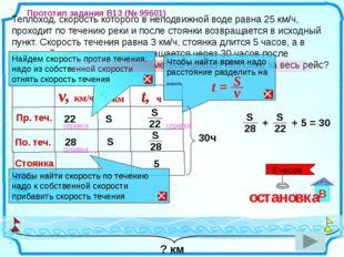 Теплоход, скорость которого в неподвижной воде равна 25 км/ч, проходит по те