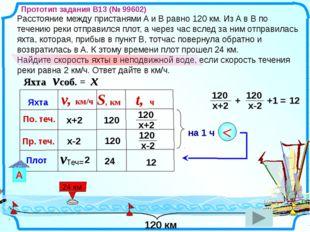Расстояние между пристанями A и B равно 120 км. Из A в B по течению реки отп