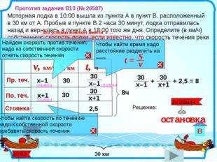 Моторная лодка в 10:00 вышла из пункта А в пункт В, расположенный в 30 км от