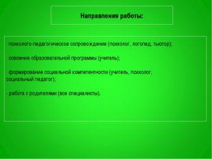 Направления работы: психолого-педагогическое сопровождение (психолог, логопед