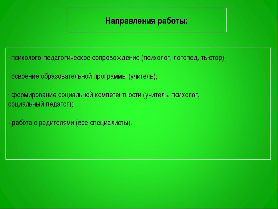 Направления работы: психолого-педагогическое сопровождение (психолог, логопед...