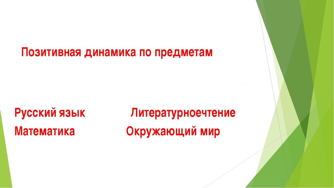 Позитивная динамика по предметам Русский язык Литературноечтение Математика О...