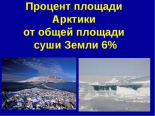 Процент площади Арктики от общей площади суши Земли 6%