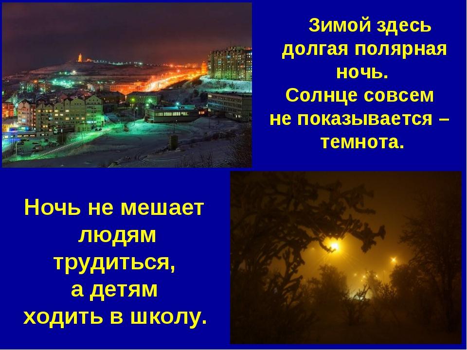 Зимой здесь долгая полярная ночь. Солнце совсем не показывается – темнота. Н...
